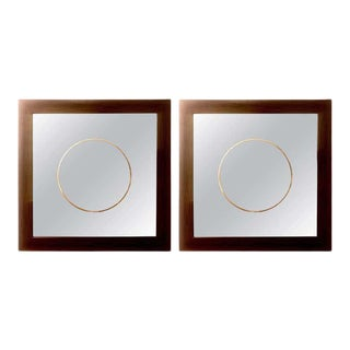 Pair of Square Maccasar Faux Art Deco Style Wall / Console Mirror For Sale