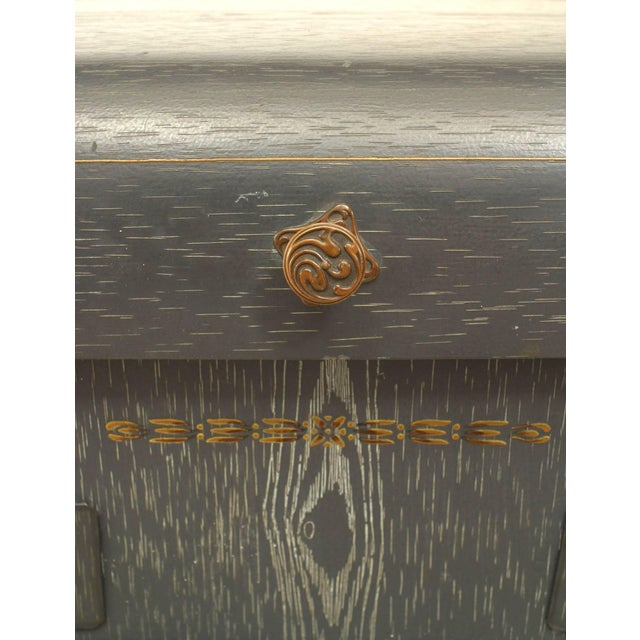 Mid 18th Century French Provincial Grey Faux Wood Painted Tole Washstand For Sale - Image 5 of 6