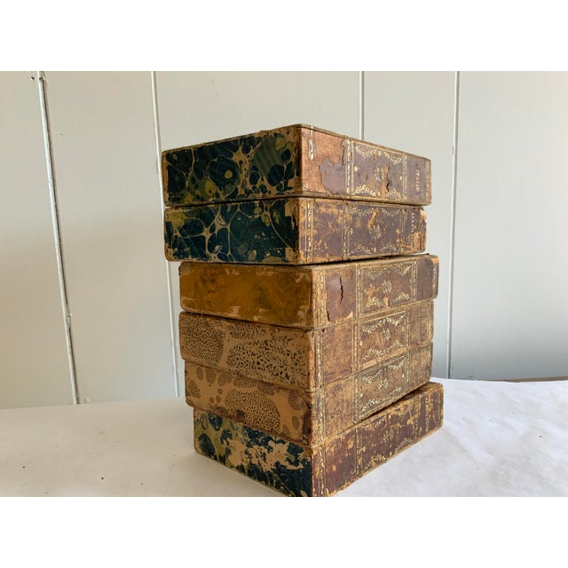 Ink Blue Antique Italian Faux Book Boxes For Sale - Image 8 of 8
