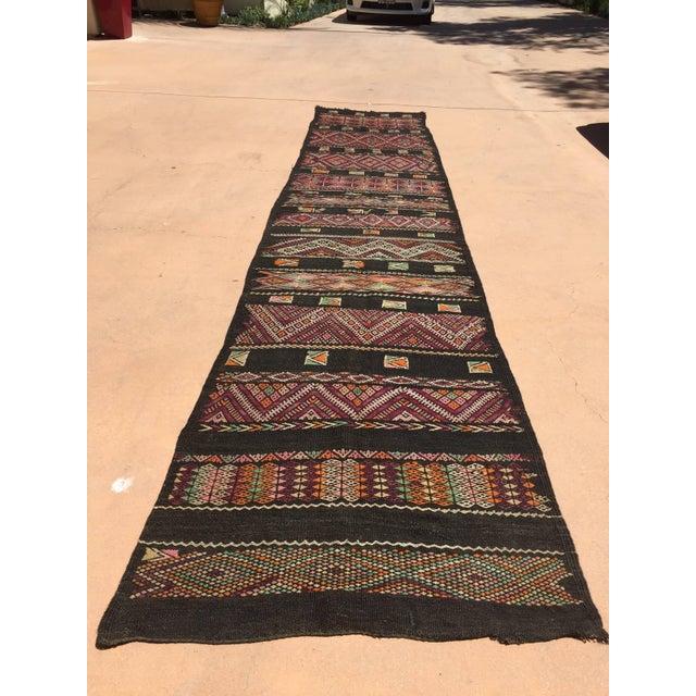 Tan Moroccan Black Tuareg Tribal African Rug Runner For Sale - Image 8 of 8