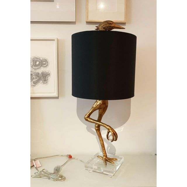 2010s Aged Gold Bird Lamp With Black Shade For Sale - Image 5 of 11