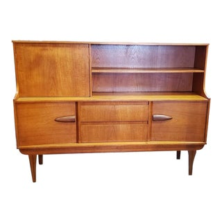 Mid-Century Modern Teak Bar or Desk With Cabinet C.1960s For Sale