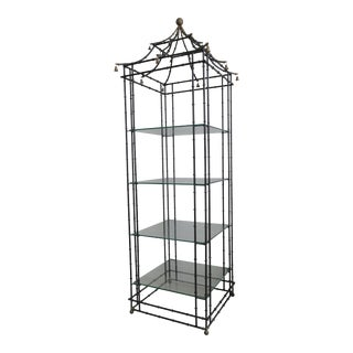 Superb Tall Faux Bamboo Metal Pagoda Etagere For Sale