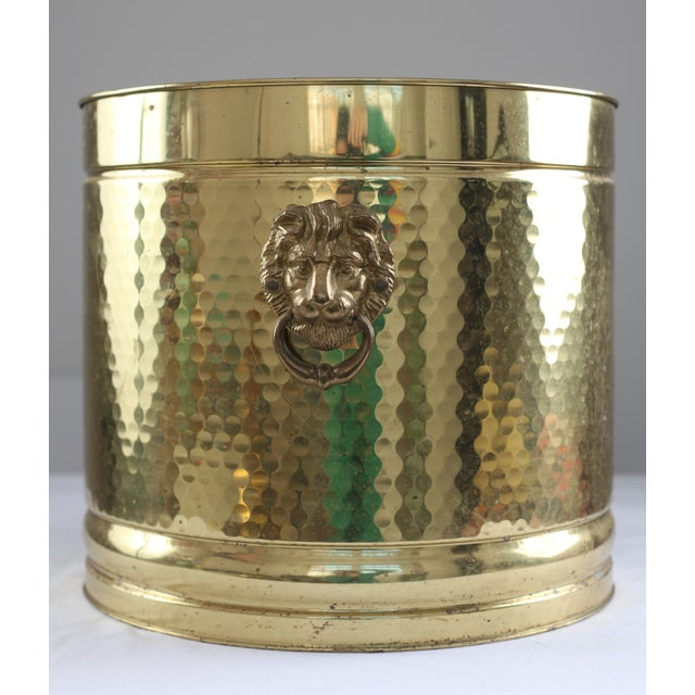 Large Neo Classical Brass Planter - Lion's Heads - Image 2 of 5