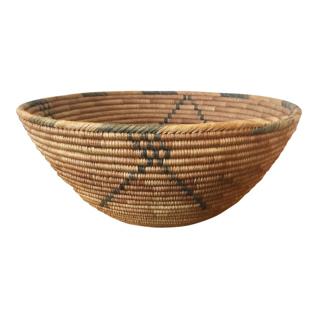 Rush 1950s Southwestern Coiled Indian Basket For Sale - Image 7 of 7