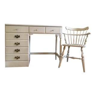 1970s Ethan Allen Writing Desk With Matching Chair - 2 Pieces For Sale
