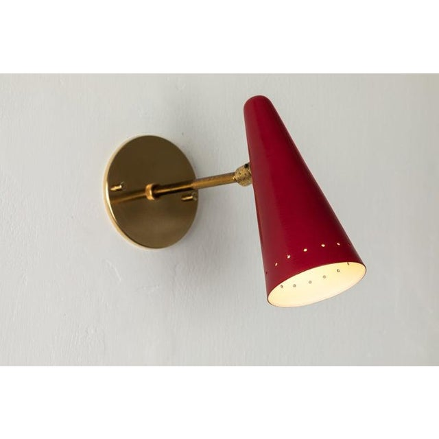 Mid-Century Modern 1960s Stilux Articulating Red Cone Sconces For Sale - Image 3 of 13