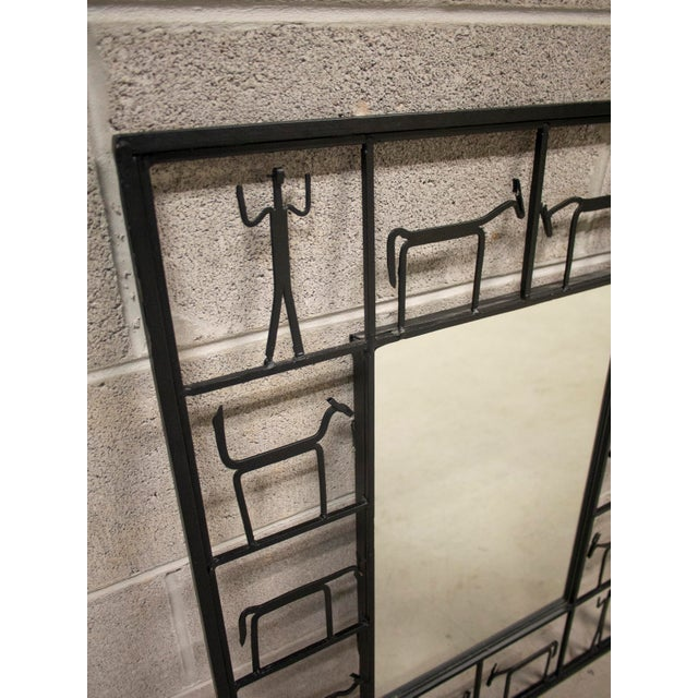 Frederick Weinberg Vintage Frederick Weinberg Style Iron Mirror For Sale - Image 4 of 6