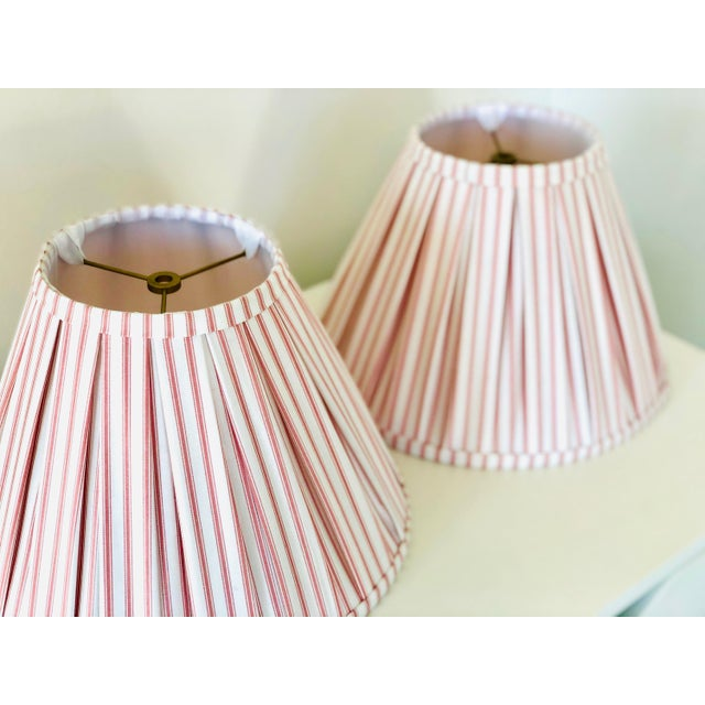 Traditional Custom Box Pleat Lampshades With Ticking Strip - a Pair For Sale - Image 3 of 6