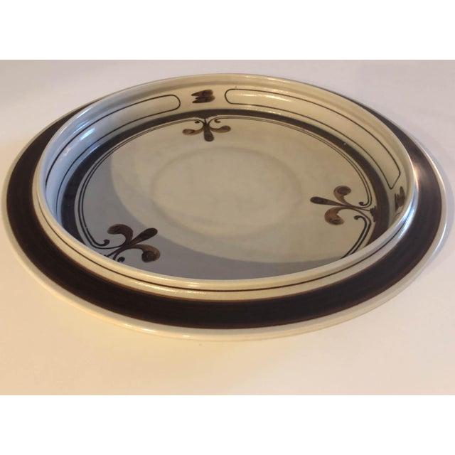 1970s vintage Rosenthal stoneware pottery platter in the Continental Siena scroll fleur-de-lis design. Designed by Bjorn...