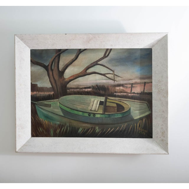 "Framed oil on canvas depicting boat on ground at low tide. Signed by ""Rosalind"" but last name illegible. Not dated but..."