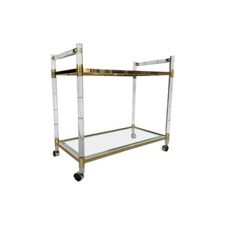 1970s Hollywood Regency Charles Hollis Jones Faux Bamboo Lucite Brass Bar Cart For Sale