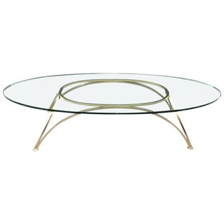 1950s French Bronze Oval Coffee Table For Sale