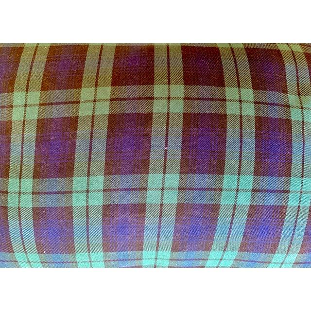 Scandinavian Tartan Cushion and Aqua Slipcover for Summer Bench For Sale - Image 10 of 11
