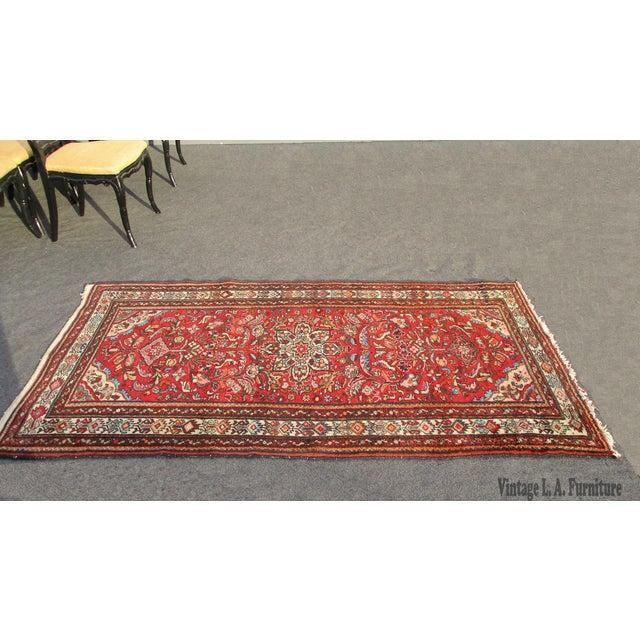 Vintage Red Floral Wool Persian Rug - 3′1″ × 6′1″ - Image 3 of 11