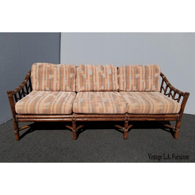 French Country Vintage McGuire Furniture Company Rattan Sofa With Leather Rawhide Ties For Sale - Image 3 of 13