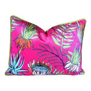 Contemporary Standard Size Raspberry Pink Velvet Pillow