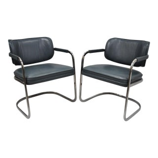 Green Leather Chrome Cantilever Lounge Chairs - A Pair