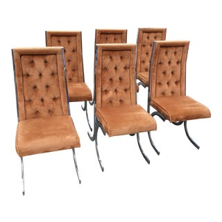 1970s Milo Baughman X-Form Tufted Dining Chairs - Set of 6