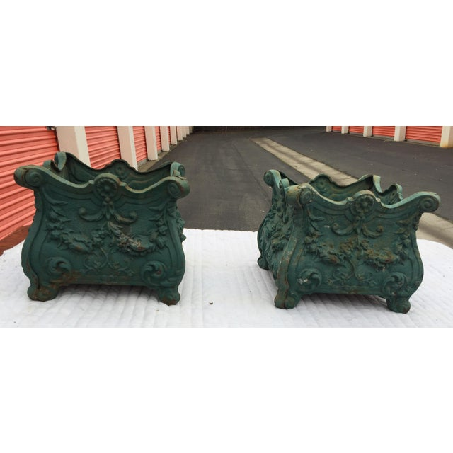 French Cast Iron Planters a Pair For Sale - Image 10 of 10