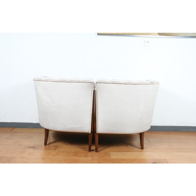 Dove Gray Mohair Hollywood Regency Pair of Chairs For Sale - Image 8 of 13