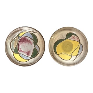 1980s Yellow and White Abstract Modern Desert Plates - a Pair For Sale