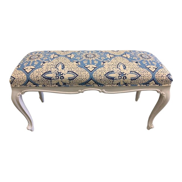White French Bench Newly Upholstered in Quadrille Fabric For Sale