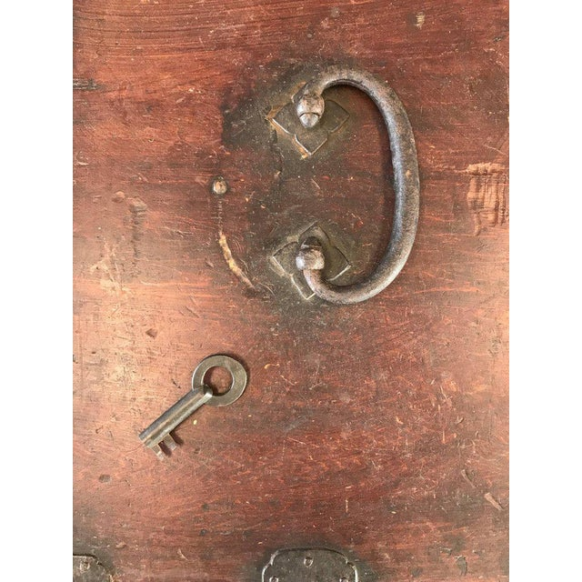 Brown Antique Compact Chinese Seaman's Chest With Locks and Key For Sale - Image 8 of 13