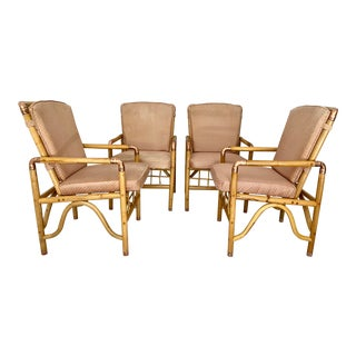 Vintage Rattan Dining Chairs With Copper Metal Accents - Set of 4 For Sale