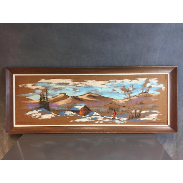VINTAGE MID CENTURY MODERN PAINTING. Oil on burlap over board. Features a mountain scene. The piece is signed in bottom...