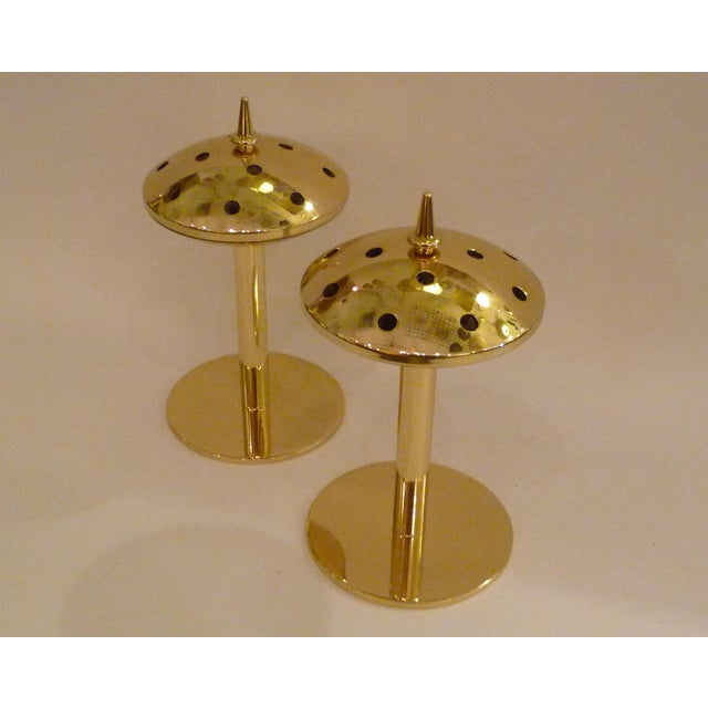 Pair of Modern Hans Agne Jakobsson Solid Brass Candleholders 1950s For Sale - Image 11 of 12