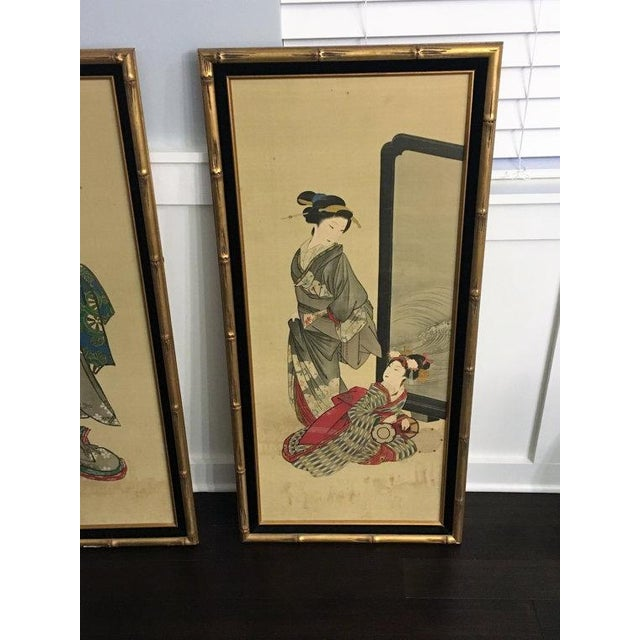 Chinese Gold Bamboo Geisha Paintings - Pair - Image 3 of 5