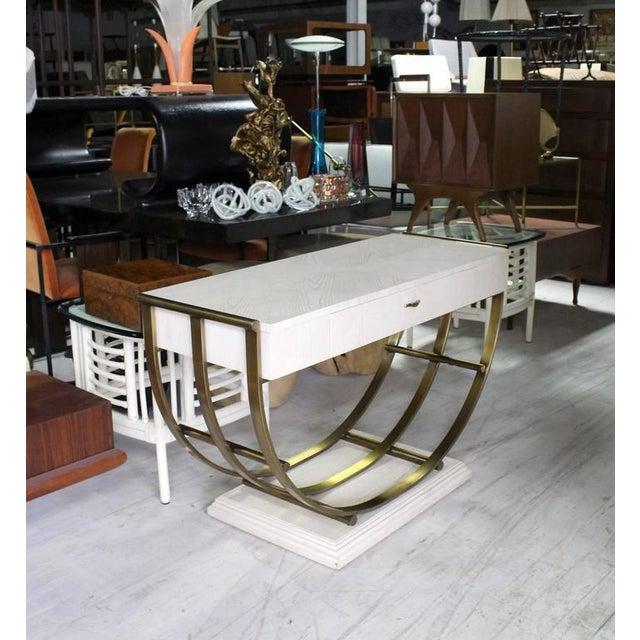 Very nice Mid-Century Modern brass u-shape base white oak finish sofa or console table.
