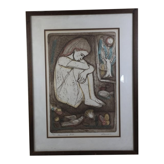 """Mid-Century Lithograph """"Dreaming Girl"""" by Irving Amen - Image 1 of 6"""