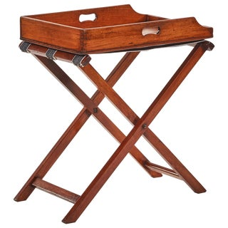 Late 19th Century Mahogany French Butler's Tray on Folding Stretcher For Sale