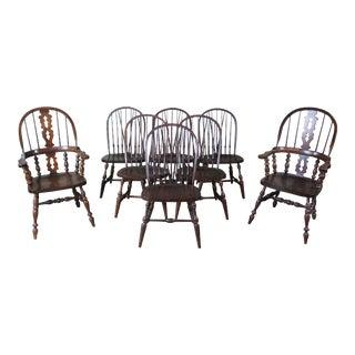 Vintage Pennsylvania House English Windsor Brace Back Oak Dining Chairs - Set of 8 For Sale