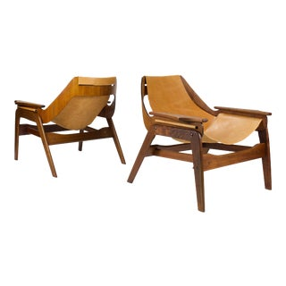 Vintage Mid Century Jerry Johnson Sling Chairs- A Pair For Sale