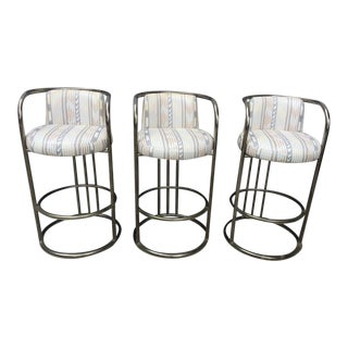 1970's Mid-Century Modern Design Institute America Chrome Bar Stools - Set of 3 For Sale