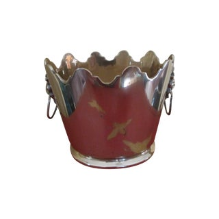 Scalloped Mottahedeh Brass Lion Head Cachepot For Sale