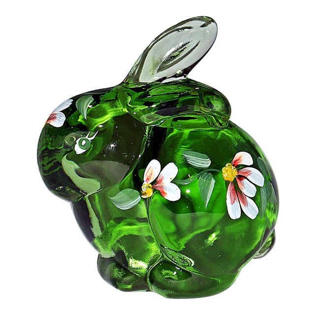 Fenton Hand Painted Glass Bunny For Sale