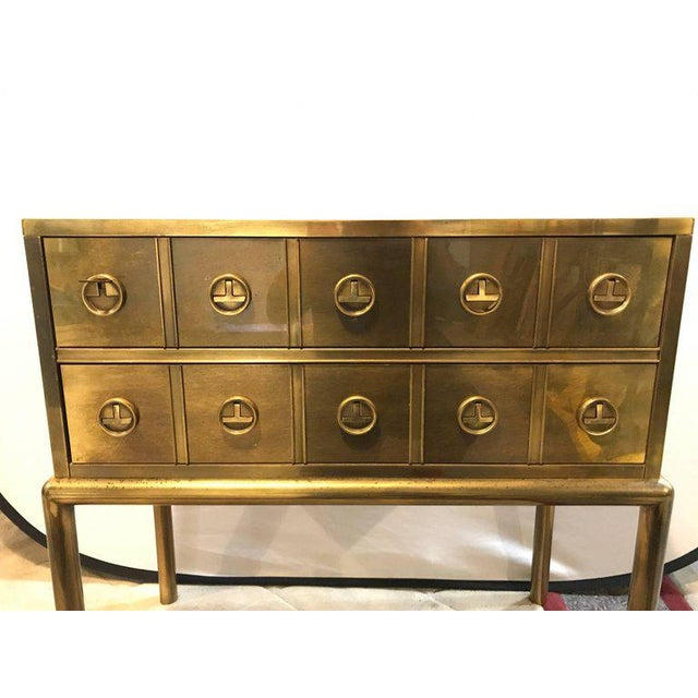 Mastercraft Brass Two-Drawer Small Chest of Drawers Cabinet - Image 3 of 9
