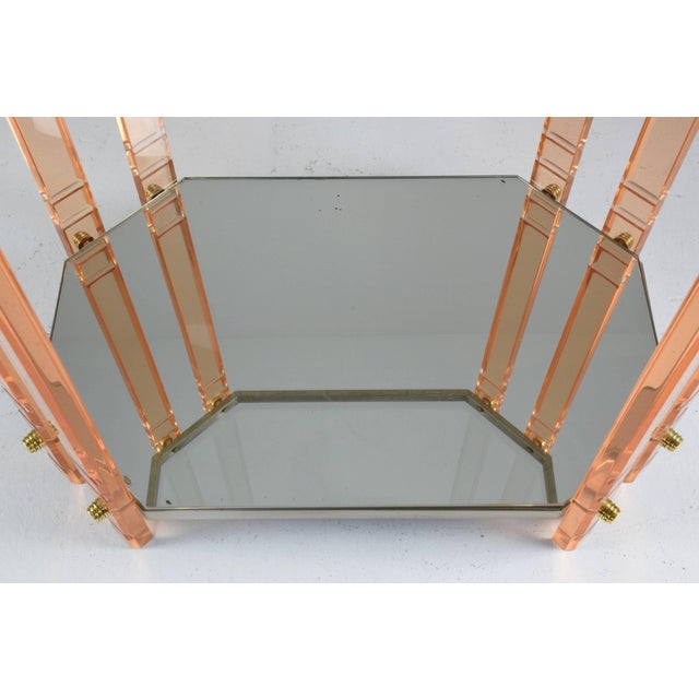 Gold 20th Century French Plexiglass Etagere or Bar Cart For Sale - Image 8 of 11