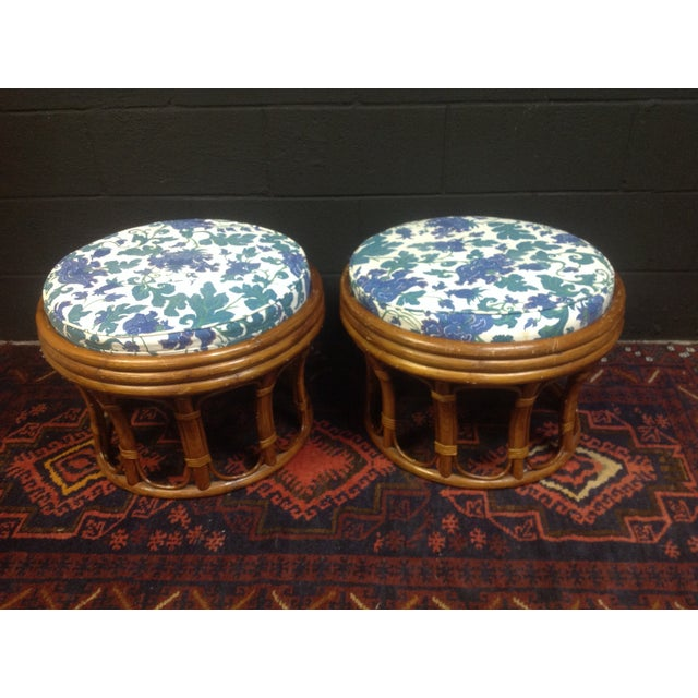 Vintage Bamboo Ottomans - A Pair - Image 3 of 7
