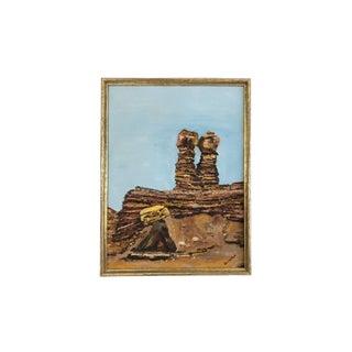 Vintage Rock Formation Impasto Oil Painting For Sale