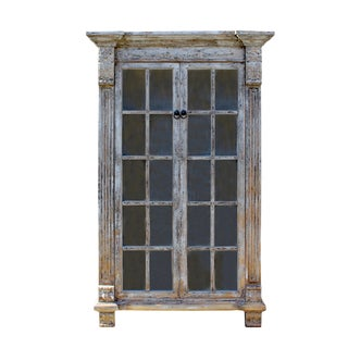Distressed Pastel Black Gray Tall Glass Door Display Bookcase Cabinet For Sale
