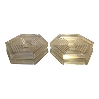 """Baccarat French Crystal """"Orsay"""" Hexagon Coasters - a Pair For Sale"""