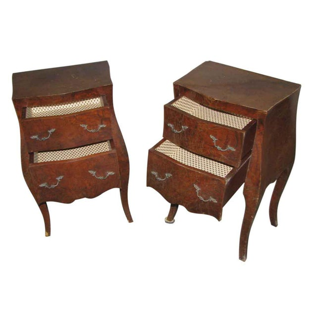 Pair of vintage Empire bed side tables with drawers.