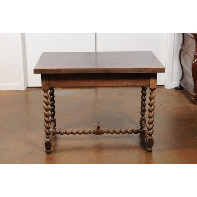 French Walnut Louis XIII Style Desk with Barley Twist Base from the 19th Century For Sale - Image 12 of 13