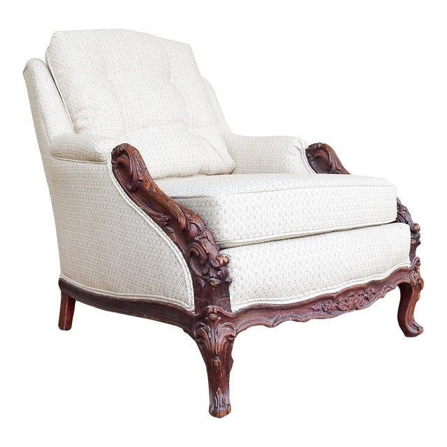 Vintage Rococo Carved Bergere Chair For Sale