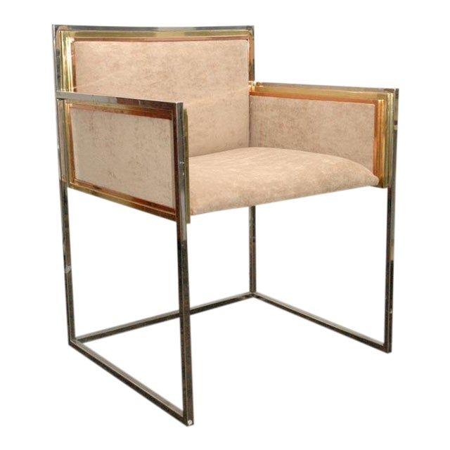 Set of four armchairs designed by Alain Delon for Maison Jansen in 1972. Chrome + brass + copper-plated finish. Very...